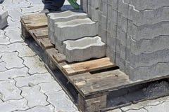 Concrete floor tiles in internal area street paving. Seropedica, RJ, Brazil - January 7, 2016 Royalty Free Stock Photo