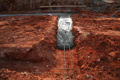 Concrete footer being poured. Concrete footer on new home site with rebar being poured Royalty Free Stock Photography