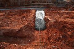 Concrete footer die wordt gegoten Royalty-vrije Stock Fotografie
