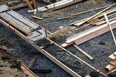 Concrete footing. For a house under construction Royalty Free Stock Photo