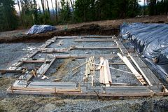 Concrete footing. For a house under construction Royalty Free Stock Image