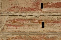 Concrete Forms. Close-up of used concrete forms with remnants of concrete on them Stock Photo
