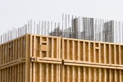Concrete forms. Wood and rebar forms for concrete in new building stock photo