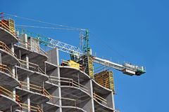 Concrete formwork and crane Stock Photography