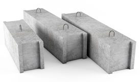Concrete foundation blocks on white background Stock Photo