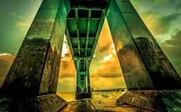 Concrete foundation of bridge. Concrete foundation of Pamban bridge in India n Stock Photo