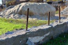 Concrete foundation for a new house stock photos