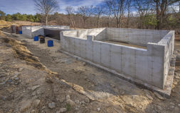 Concrete foundation for a new house. With basement walls exposed Stock Photography