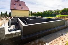 Concrete foundation of house Royalty Free Stock Photo