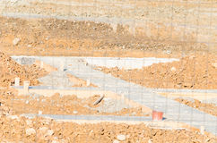 Concrete foundations for the construction of prefabricated hous Stock Photo