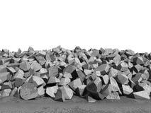 Concrete fragments of demolition destruction on white background. 3d render illustration stock illustration