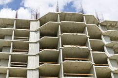 Concrete frame of a building close-up. Monolithic gray concrete frame of a building close-up on a blue sky Royalty Free Stock Photography