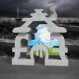 Concrete geldsymbolen die de bouw met billow stapelen stock afbeeldingen