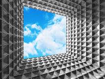 Concrete geometric architecture abstract background with cloudy Stock Images