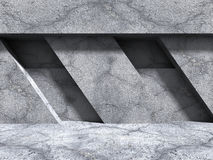 Concrete Geometric Wall. Architecture Design Background. 3d Render Illustration Stock Photos