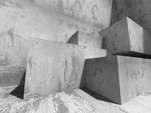 Concrete Geometric Wall. Architecture Design Background. 3d Render Illustration Stock Images