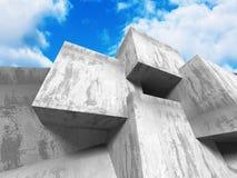 Concrete geometrische architectuur abstracte achtergrond Stock Afbeeldingen