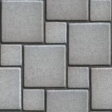 Concrete Gray Figured Pavement of Large and Small. Squares. Seamless Tileable Texture Stock Photos