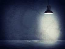 Concrete gray wall and lamp with directional light Stock Images