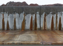 Concrete grey wall with red stains. Stock Photography