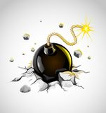 Concrete ground cracked by dangerous burning bomb. Vector illustration Stock Photo