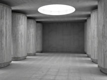 Concrete hall. With interesting lights Stock Photography