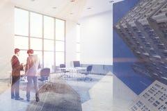 Concrete het bureauhoek van de vloeropen plek, muurmensen Stock Fotografie
