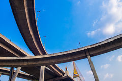 Concrete highway overpass Bhumibol Bridge in Thailand Stock Photo