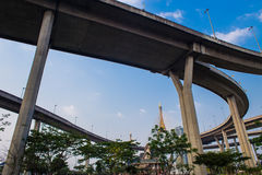 Concrete highway overpass Bhumibol Bridge in Thailand Stock Images