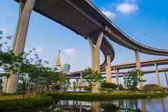 Concrete highway overpass Bhumibol Bridge in Thailand Royalty Free Stock Photography