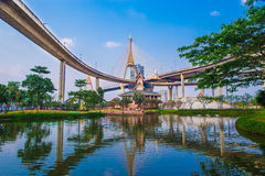 Concrete highway overpass Bhumibol Bridge in Thailand Royalty Free Stock Image
