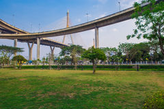 Concrete highway overpass Bhumibol Bridge in Thailand Stock Image