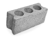 Concrete hollow block construction. On a white background stock images
