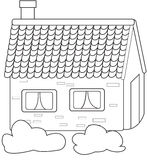 Concrete house coloring page stock illustration