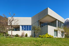 Concrete house with garden royalty free stock photo