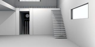 Concrete House Interior Stock Photo
