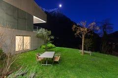Concrete house, night scene Royalty Free Stock Photo