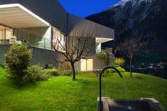 Concrete house, night scene Stock Photo