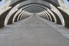Concrete hovering arcade passage Royalty Free Stock Photography