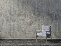 Concrete interior with blue armchair. 3d illustration Stock Images