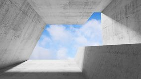 Concrete interior with blue cloudy sky. Empty white concrete interior with blue cloudy sky in window. Modern minimalist architecture background, 3d render Stock Image