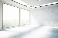 Concrete interior with city view side Royalty Free Stock Image