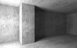 Concrete interior. 3d render illustration. Abstract architectural background, empty concrete room interior. 3d render illustration Royalty Free Stock Photo