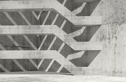 Concrete interior with girders, 3d render. Abstract concrete interior with decorative girders and shadow pattern, 3d render illustration Stock Photos