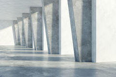 Concrete interior. Grunge concrete room interior with daylight. 3D Rendering Stock Photography