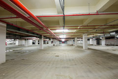 Concrete interior of parking area Stock Images