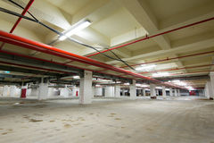 Concrete interior of parking area Stock Photo