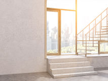 Concrete interior stairs blank wall. Sunlit concrete interior with stairs, window with New York city view and blank wall. Mock up, 3D Rendering Stock Images