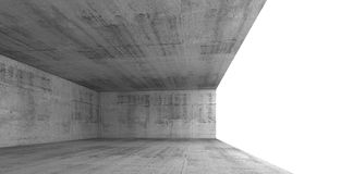 Concrete interior with white window opening, 3d Stock Image