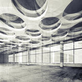 Concrete interior and wire-frame lines, 3d illustration Royalty Free Stock Photo
